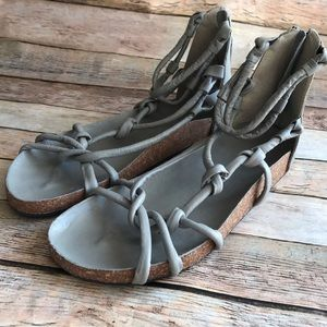 Free People Redlands Footbed Sandal Vegan Gray 7